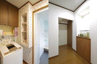 浴室を1221サイズのものから、使い勝手の良い1616サイズにして、設置位置を替えたことで、空間が生まれ、それを利用して洗面所には収納棚を(左)、廊下側には、収納棚とニッチをつくりました(右)。