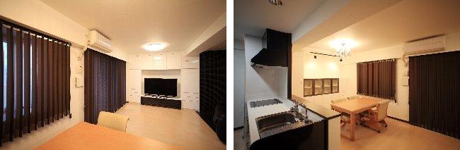 左  テレビボードは、収納キャビネットの扉のカラーを白にして、明るく広々とした空間に。窓は縦型スクリーンを採用して光の調節ができるようにしました。 右 キッチンのカウンターを狭くしてスペースを広くとったダイニング。食器棚の上は、絵画を印象的に飾れるように、スポットライトを設置。