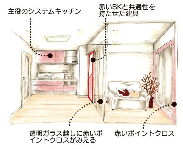 当社施工例 希望された赤いキッチンを主役にトータルコーディネート