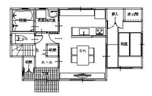 施工後 和室をリビングとして活用することで、収納力のある対面式のキッチンと、 ゆったりとしたダイニングスペースが生まれます