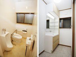 寒かったタイル貼りの在来のトイレも、機器と内装を一新。明るく暖かな空間に。洗面台も収納力のある機器に。オール電化にして、バリアフリーを実現。