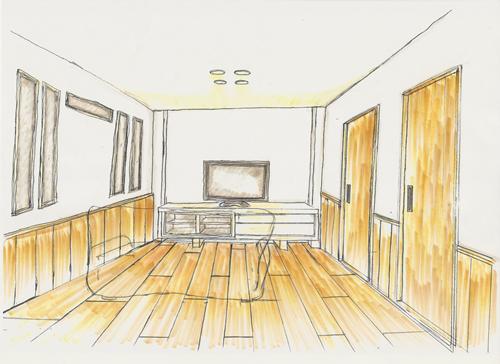 奥の壁を二重にして間接照明を入れます。 おだやかなひかりが部屋の雰囲気を やさしくします。