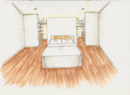 立ち上げた壁の裏側に照明器具を取り付けて、 ベッドスペースを間接照明で演出すると、 より、雰囲気のあるくつろぎ空間に