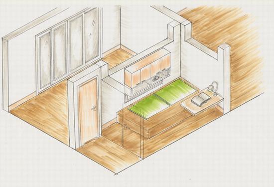 ベッドと机のスペースを確保して、 ベッドの上に吊戸棚を設置。 ベッドで本を読むことができます