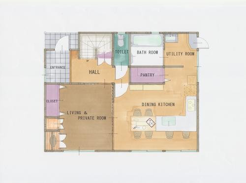 キッチンを中心に、洗面室、洗濯機、食品庫、冷蔵庫、コンロ、シンク、カップボード、テーブルと、作業しやすく配置したパース図