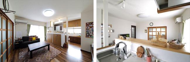 左:お手持ちの家具や建具に合わせて、リビングの床は無垢材をイメージした床材を貼っています。 右:カウンターを高くしてキッチンの手元が見えないようにしています。浄水器のタンクはカウンター下に収納。上部に吊り戸棚がないので、開放的なキッチン空間に。