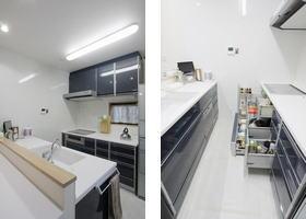 清潔感溢れる明るいキッチン。機器を入れ替え、IHクッキングヒーター、エコキュートを設置してオール電化に。