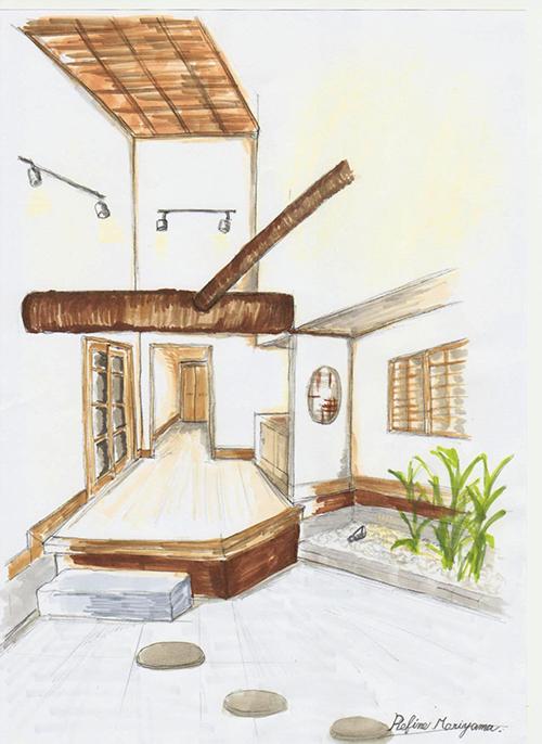 玄関のパース図 まるで料亭のような粋な和風ティストな玄関を提案