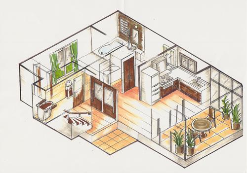 リビングの中にカフェテラススペースを設けた例 床材にテラコッタタイルを使います