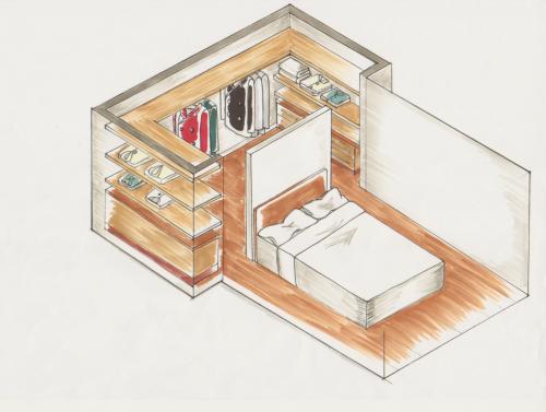 (パース図) ご夫婦の二つのベッドを部屋の中央に配置し、 ヘッドボード部分(頭を置く方)に壁を設置して、壁の向こう側をクローゼットにします。