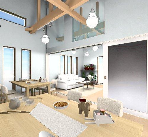 CADパース図で提案した室内空間。ダイニングから見たリビングのイメージ